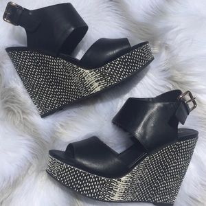 Black Wedges Size 8 with Strap